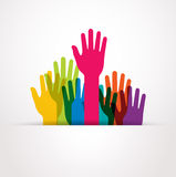 Vector colored raised hands. Presentation Stock Photo