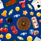 Vector realistic casino gamble pattern or background illustration. Vector colored realistic casino gamble seamless pattern or background illustration vector illustration