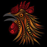 Vector colored rooster made of flowers Royalty Free Stock Photo