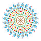 Vector colored round navy mandala symbols Royalty Free Stock Image