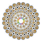 Vector colored round rainbow spectrum mandala curly spirals - adult coloring book page Stock Photo