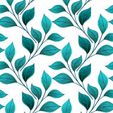 Vector Colored Seamless Floral Pattern. Hand Drawn Texture with Abstract Flowers and Leaves, Contour Doodle Style Royalty Free Stock Image