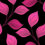 Vector Colored Seamless Floral Pattern. Hand Drawn Texture with Abstract Flowers and Leaves, Contour Doodle Style Stock Photos