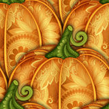 Vector Colored Seamless Pattern with Decorative Pumpkin Royalty Free Stock Photography