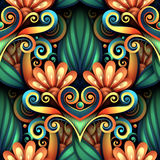 Vector Colored Seamless Pattern with Floral Ornament Royalty Free Stock Photography