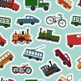 Vector colored seamless pattern of retro engines and transport stickers stock illustration