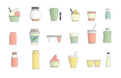 Vector colored set of different kinds of yoghurt vector illustration