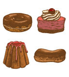 Vector colored set of doughnut pastry cake eclair. Vector hand drawn colored set of doughnut pastry cake eclair Stock Images