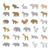 Vector colored silhouettes of animals on a white background. Vector line set of domestic and wild animals. Colored silhouettes of animals on a white background Stock Images