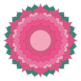 Vector colored simple mandala lotus flower - adult coloring book page isolated on white background Royalty Free Stock Images