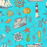 Vector colored sketched sea elements pattern or background. Sea life and animals illustration Royalty Free Stock Images
