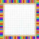 Vector colored square frame made of pencils on notebook page background. Vector square border frame made of multi colored wooden pencils on white checkered stock illustration