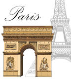 Vector colored Triumphal Arch with Eiffel tower vector illustration