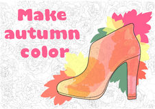 Vector colored women's shoes with heels and orange and red autumn leaves on the background of flowers Stock Image