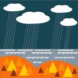 Vector Landschaftshintergrund mit regnerischen Wolken, Holz und Meer Stockfotografie