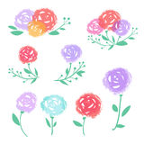 Vector colorful abstract flowers set. Vector colorful abstract flowers isolated on white. Floral logo elements. Hand drawn stain flowers set Stock Images