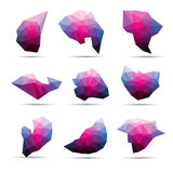 Vector colorful abstract geometric 3d stone shape lowpoly Stock Image