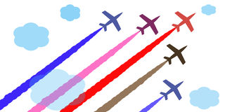 Vector colorful aircraft. The colored planes in the sky Airshow illustration vector Stock Photos