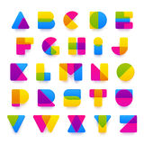 Vector colorful alphabet made of plastic shapes. Royalty Free Stock Image