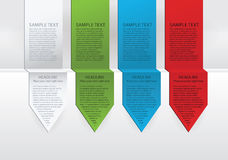Vector colorful arrow labels. Paper, green, blue and red version Royalty Free Stock Photos
