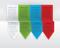 Vector colorful arrow labels. Paper, green, blue and red version Stock Image