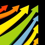 VECTOR colorful arrows. Vector illustration of several colorful arrows pointing upward Stock Photo