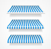 Vector colorful awnings for shop set blue Stock Images