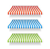 Vector colorful awnings for shop set Stock Photos