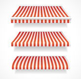 Vector colorful awnings for shop set red Stock Photography