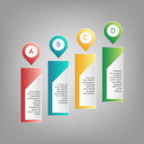 Vector colorful A, B, C, D pointers with information text frames. Red, blue, green, yellow infographics on grey background Stock Image
