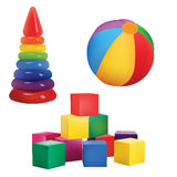 Vector Colorful baby Toys: Bricks, Ball and Pyramid.  On White background. Vector Colorful baby Toys Eps 10 Royalty Free Stock Photo