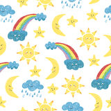 Vector colorful background with doodle sun, moon, clouds and rainbow. Stock Photos