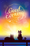 Vector colorful background with two cats watching sunset. And sign wishing good evening Stock Images