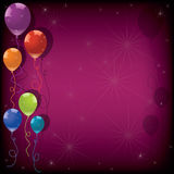 vector colorful balloons on pink background Stock Images