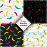 Vector colorful banana patterns set. Vector eps 10 colorful banana patterns design collection Stock Images
