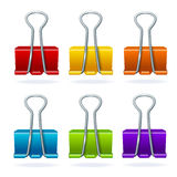 Vector colorful binder clip set Royalty Free Stock Photos