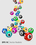 Vector Colorful Bingo balls fall randomly. Lottery Number Balls . Colored balls . Bingo ball. Bingo balls with numbers. Realistic vector. Vector isolated royalty free illustration