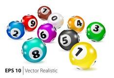 Vector Colorful Bingo balls lie in random order. Royalty Free Stock Photo