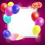Vector colorful birthday card with balloons and candies. Stock Image