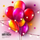 Vector colorful birthday card with balloons and Stock Photos