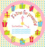 Vector colorful birthday card with gift boxes in Royalty Free Stock Photos