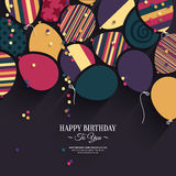 Vector colorful birthday card with paper balloons vector illustration