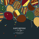 Vector colorful birthday card with paper balloons Royalty Free Stock Photos