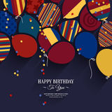 Vector colorful birthday card with paper balloons Stock Images