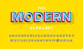 3d trendy font stock illustration