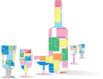 Vector colorful bottle and glasses Stock Photography