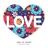Vector colorful bouquet flowers love text frame Royalty Free Stock Photography