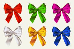 Vector colorful bows isolated on white background. royalty free illustration
