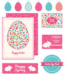 Vector colorful branches set of Easter cards Royalty Free Stock Photo
