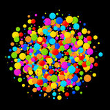 Vector colorful bright rainbow colors circle confetti round papers  on black background. Birthday template. And Holiday design element Stock Photo
